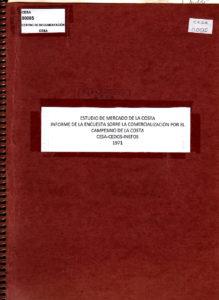 Informe de la encuesta sobre la comercialización por el campesinado de la Costa. CESA 1971