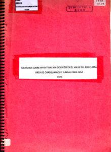 Memoria sobre investigaciones de riego en el valle del río Chota, área de Chalguayacu y Juncal» para CESA. CESA 1976