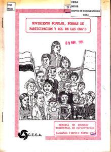 Movimiento popular, formas de participación y rol de las ONGs. Memoria de reunión trimestral de capacitación. CESA 1991