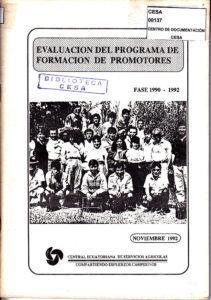 Evaluación del programa de formación de promotores. Fase 1990-1992. Memoria. CESA 1992.