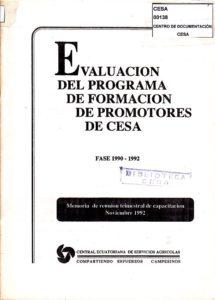 Evaluación del programa de formación de promotores. Fase 1990-1992. CESA 1992