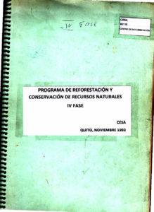 Programa de reforestación y conservación de recursos naturales. IV Fase. CESA 1992