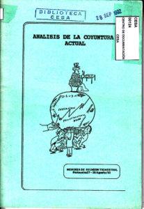 Análisis de la coyuntura actual. Memoria de reunión trimestral. Riobamba 1992.