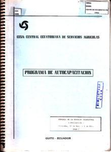 Programa de autocapacitación. Memoria de reunión trimestral, evaluación. Riobamba 30 de noviembre-1 de diciembre de 1989. CESA 1989