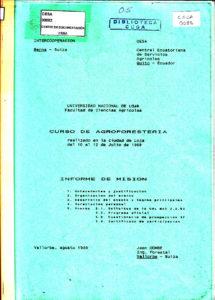 Curso de Agroforestería. Informe de la misión INTERCOOPERACIÓN. CESA 1989