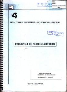 Memoria de reunión trimestral de capacitación, Riobamba, marzo de 1990. CESA 1990
