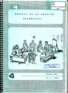 Memoria de la reunión trimestral de evaluación de la capacitación anual. Riobamba, noviembre de 1990. CESA  1990