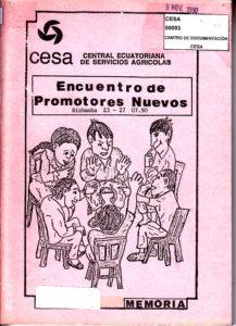Encuentro de promotores nuevos. Memoria. CESA 1990