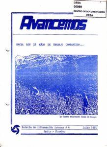 CESA. Boletín de información interna. Avancemos No.6. CESA 1991